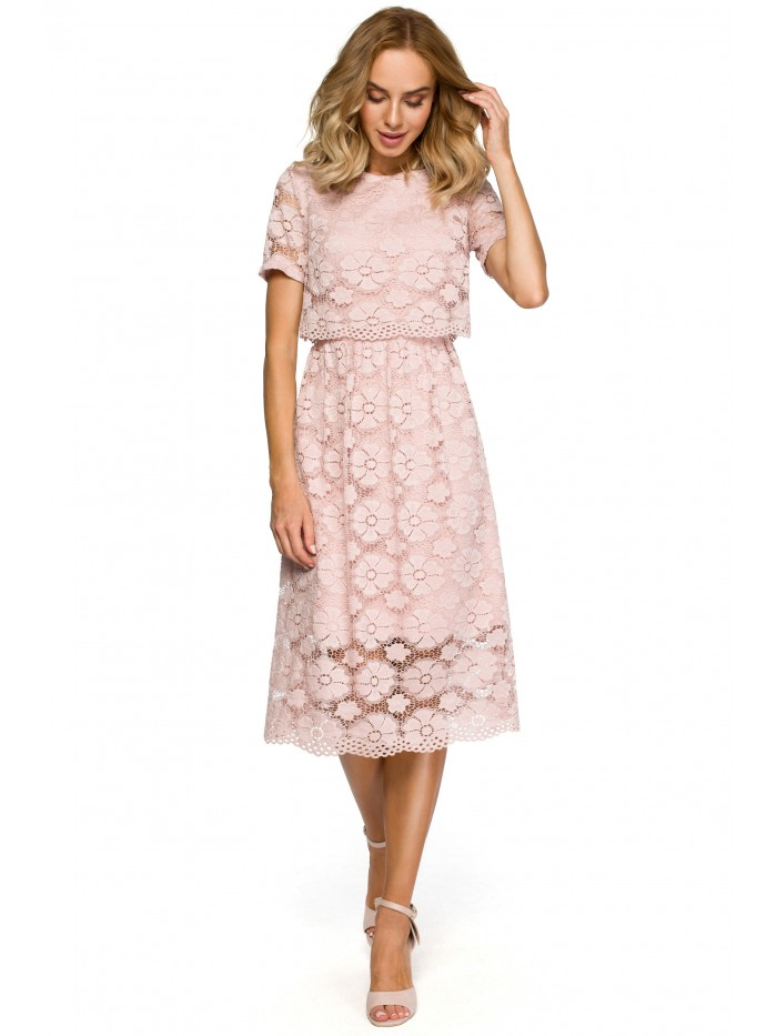 M405 lace crop top midi dress - pink