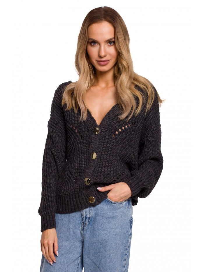 M594 Buttoned Front Cardigan - graphite