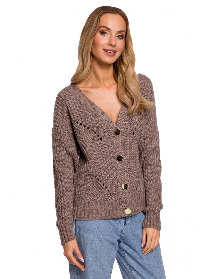 M594 Buttoned Front Cardigan - mocca