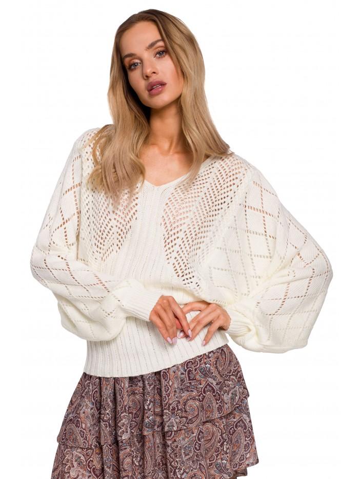 M595 Batwing Sleeve Sweater - ecru