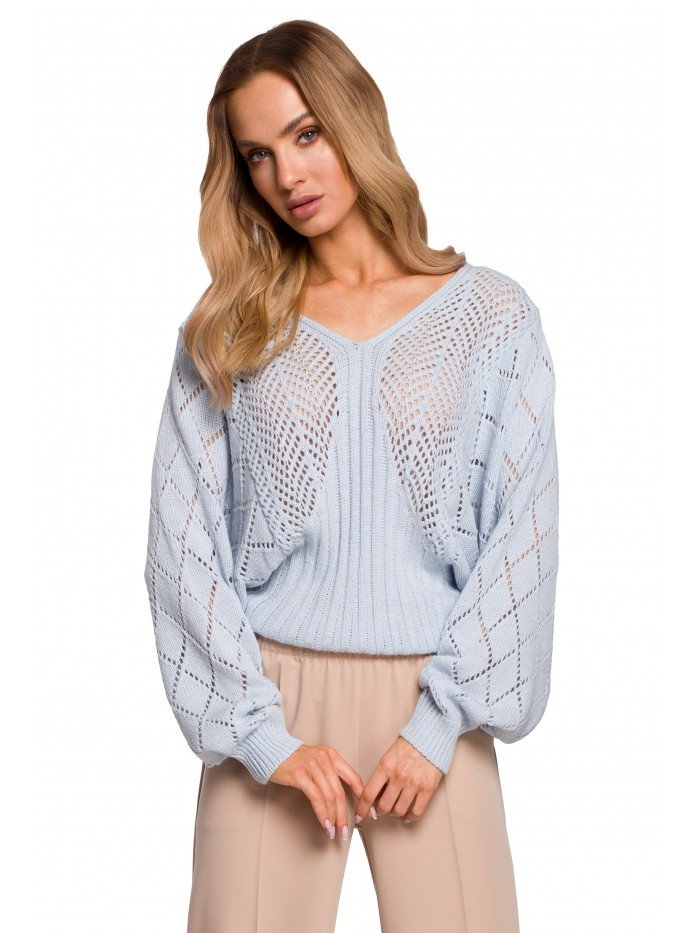 M595 Batwing Sleeve Sweater - light blue