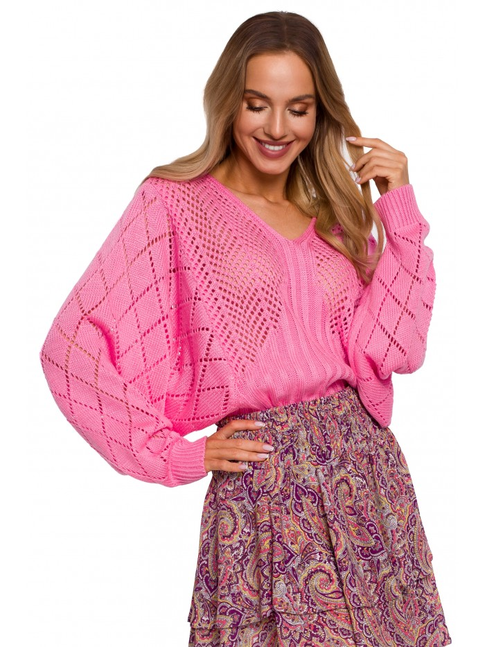 M595 Batwing Sleeve Sweater - pink