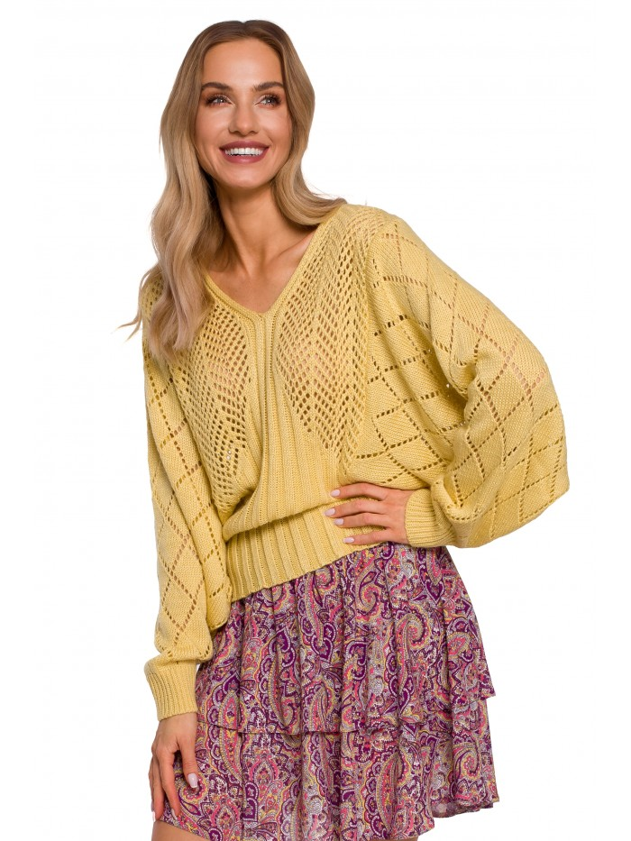 M595 Batwing Sleeve Sweater - yellow
