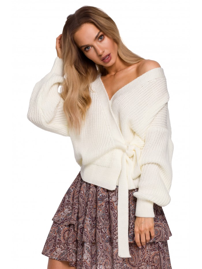 M598 Wrap Front Cardigan With A Tie Detail - ecru