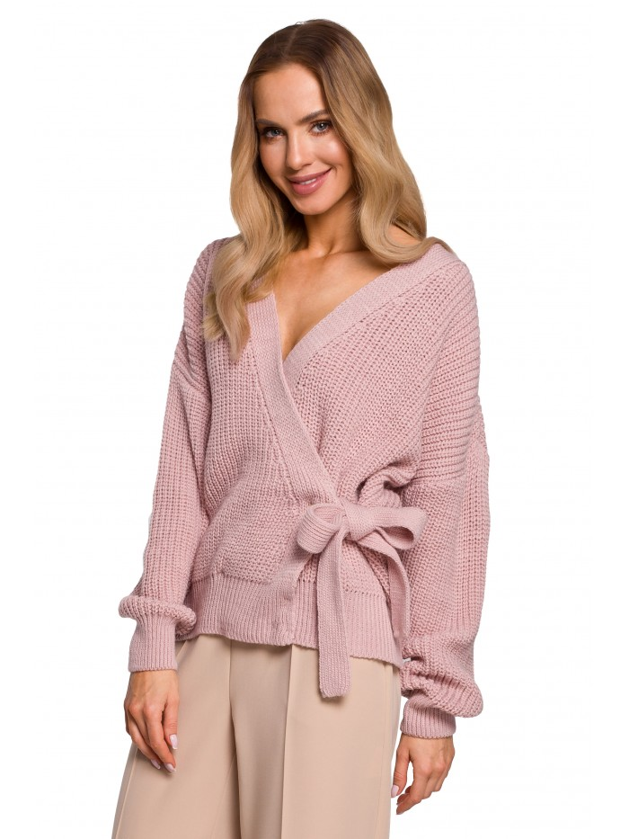 M598 Wrap Front Cardigan With A Tie Detail - powder