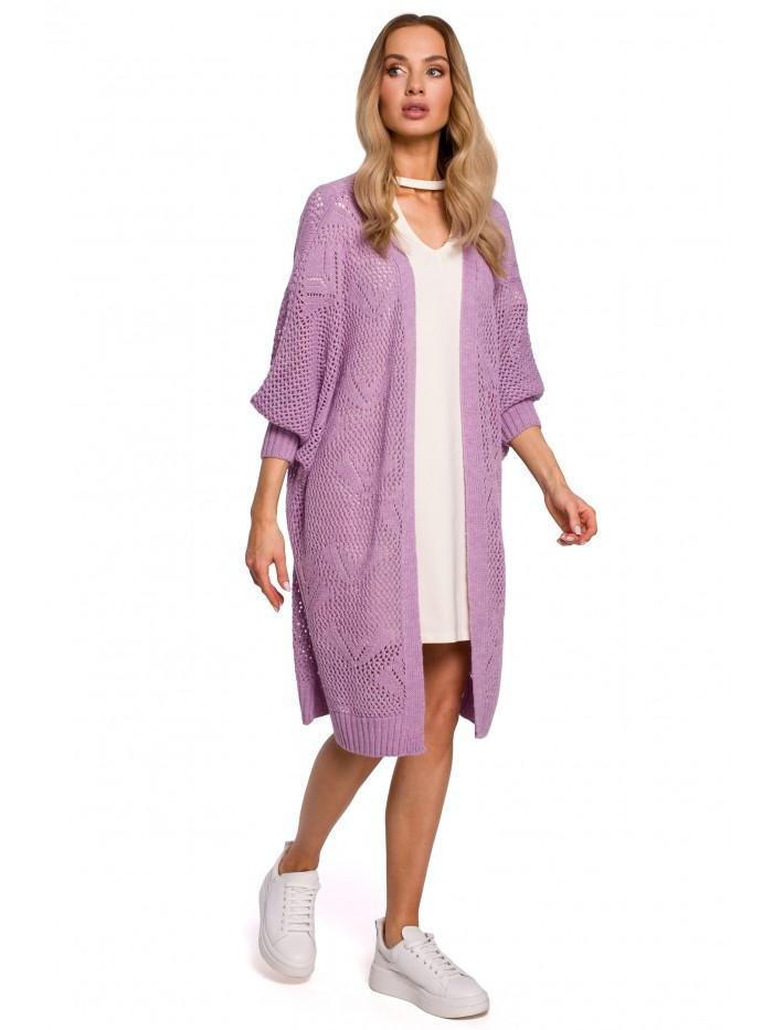 M599 Longline Open Knit Cardigan - lilac