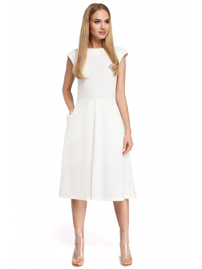 M296 Inverted pleat dress - ecru