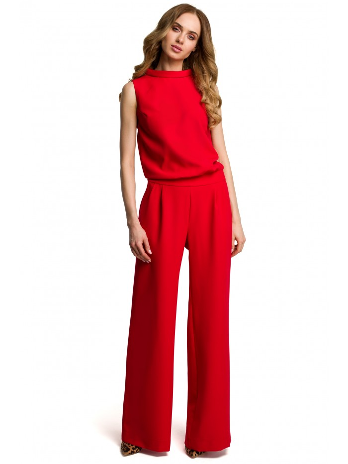 M382 Jumpsuit with split back - red