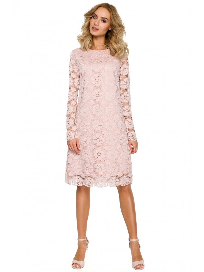 M406 lacy a-line dress with long sleeves - pink