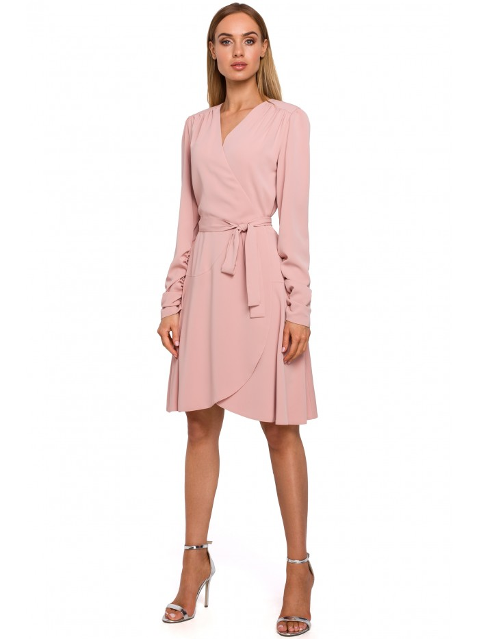 M487 Wrap dress with gathered sleeves - powder