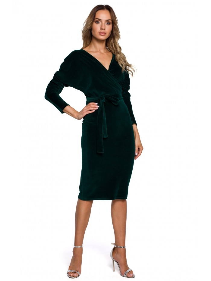 M561 Velvet Wrap Top Dress - green